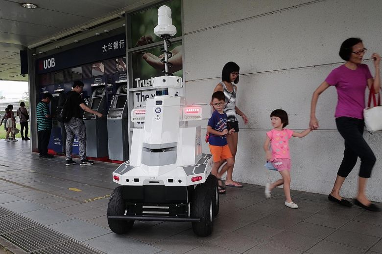 The robot deployed by LTA during Exercise Station Guard at Hougang MRT station yesterday.