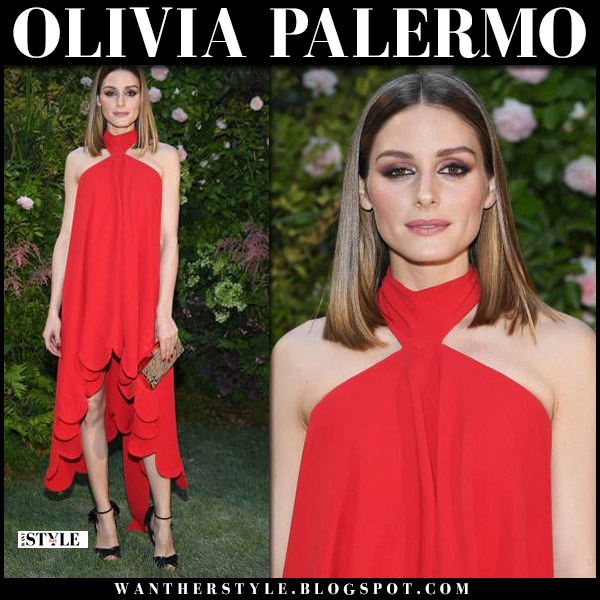 Olivia Palermo in red halter neck valentino dress and black sandals louboutin marylineska front row fashion july 4