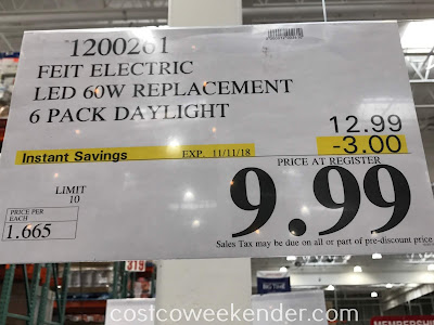 Deal for a 6 pack of Feit Electric 60W Replacement LED Bulb at Costco