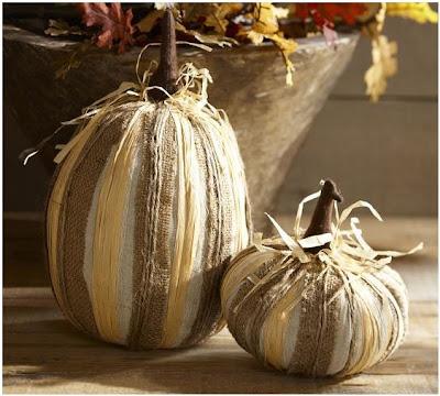 Pottery Barn Burlap Pumpkins | #pb #falldecor