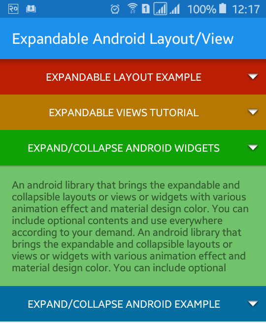 Android Expandable Layout Tutorial with Example | Viral Android