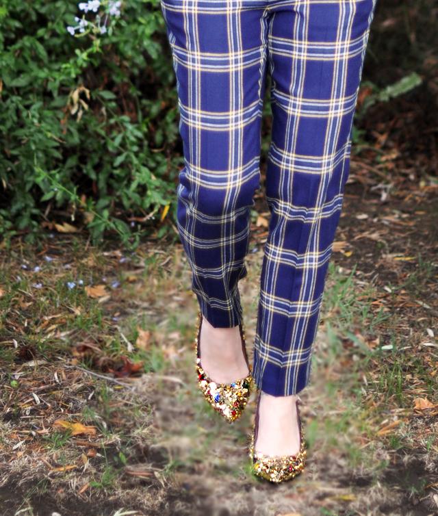 plaid pants, body chain
