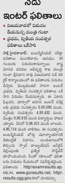 AP Inter First Year and Second Year Results with Marks 2016
