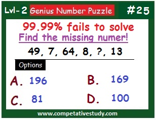 Math Puzzle: Find the missing number: 49, 7, 64, 8, ?, 13