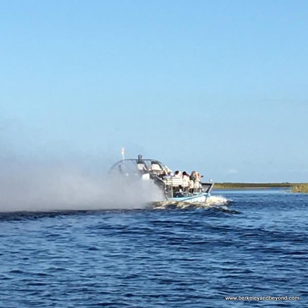 speeding airboat at Sawgrass Recreation Park in Weston, Florida