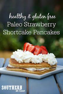 Healthy Paleo Strawberry Shortcake Pancakes Recipe