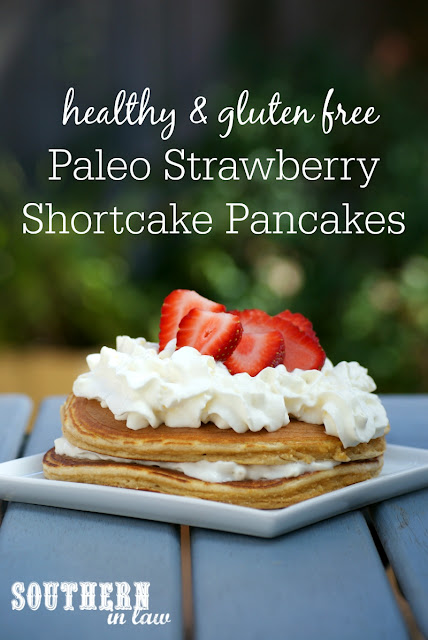 Healthy Strawberry Shortcake Pancakes Recipe - low fat, gluten free, healthy, high protein, paleo, grain free, clean eating friendly, low carb