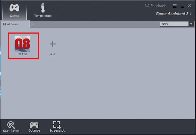 فتح اللعبة من برنامج  Game Assistant 3 لتسريع
