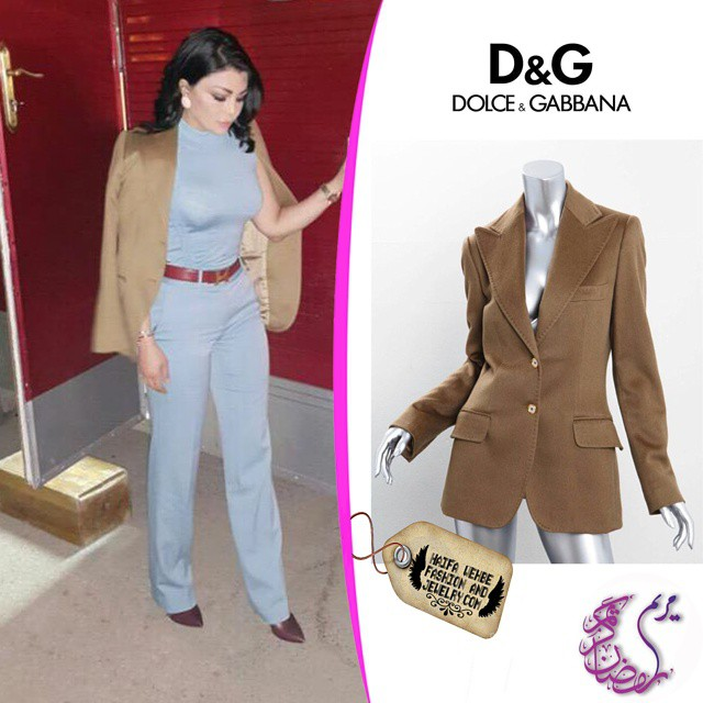 ee0174a1b0b9 Haifa Wehbe Wearing Light Brown Cashmere Classic Jacket by Dolce and Gabbana
