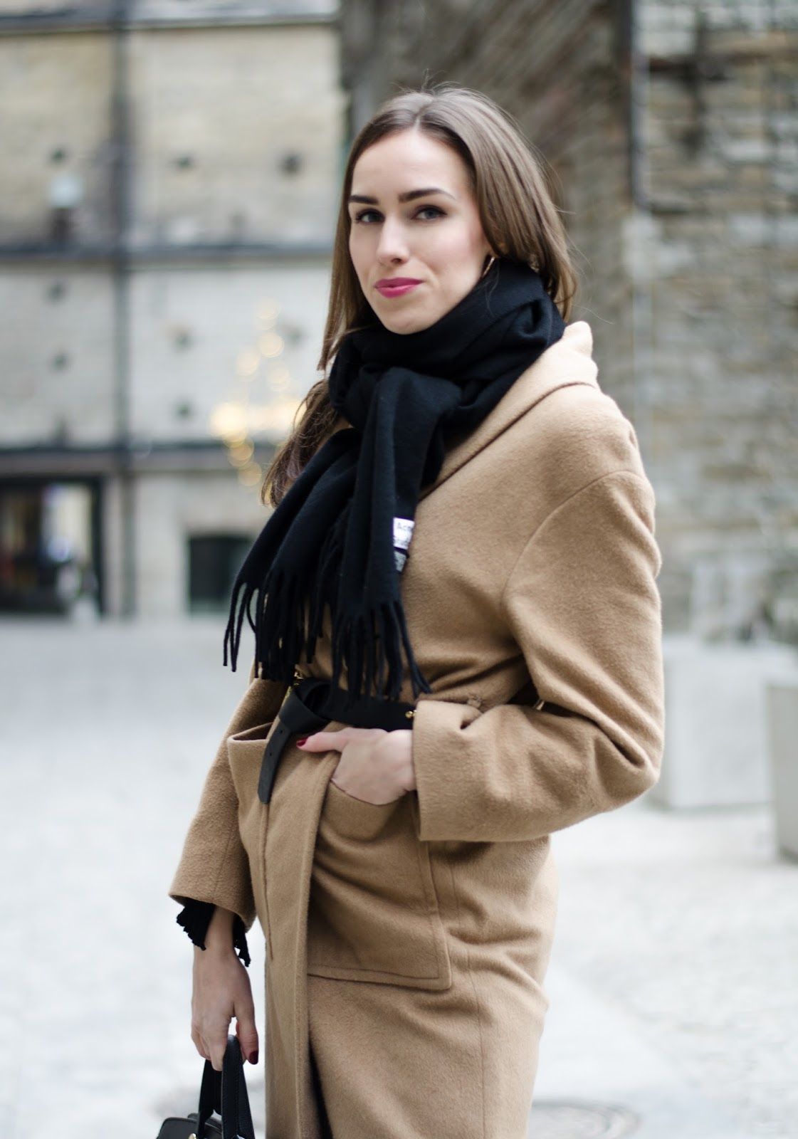 kristjaana mere acne scarf camel coat outfit