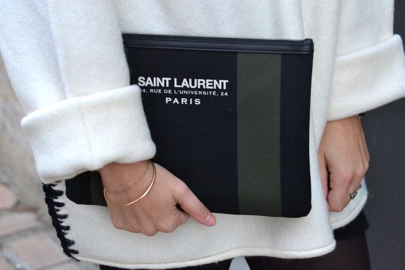 pochette noire et kaki Saint Laurent