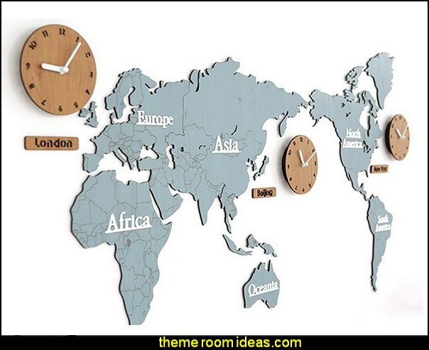 World Map Large Wall Clock  travel theme decorating ideas - global decor - world travel decorating - around the world theme decorating