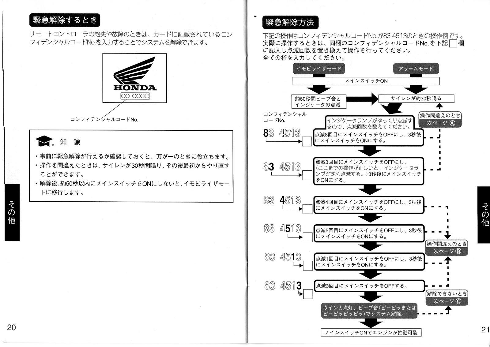 トトmemo: ホンダ リモコンイモビアラーム 取扱説明書