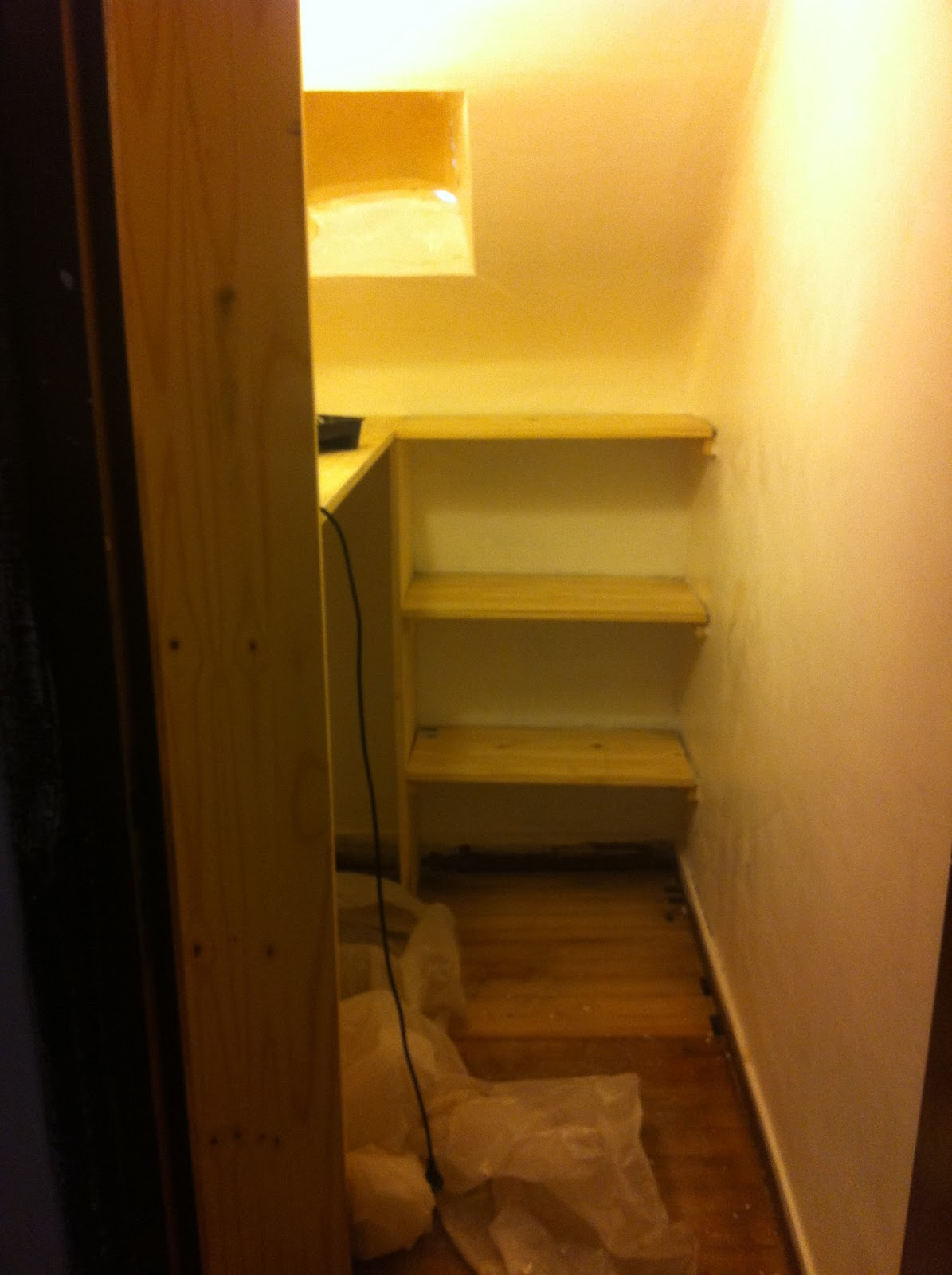 How To Stain New Wood In A Walk In Wardrobe. Full resolution‎  photo, nominally Width 1195 Height 1600 pixels, photo with #C08A0B.