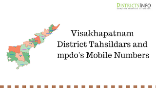 Visakhapatnam District Tahsildars and mpdo's Mobile Numbers
