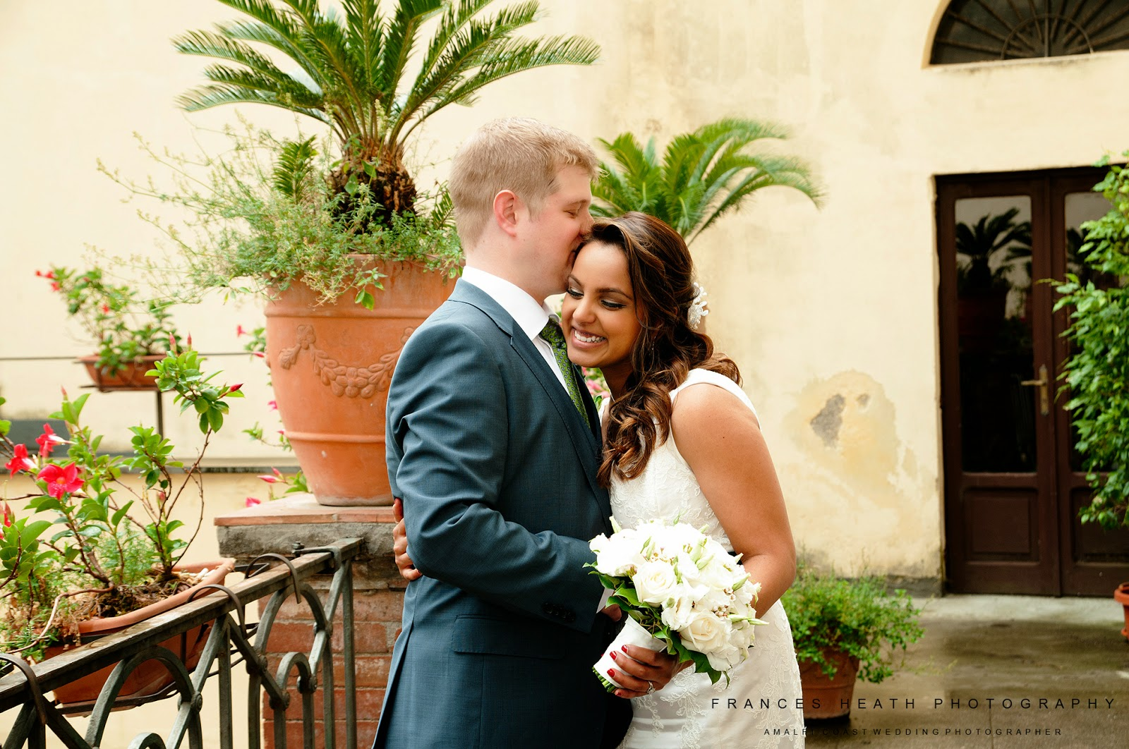 Bride and groom at the Amalfi town hall