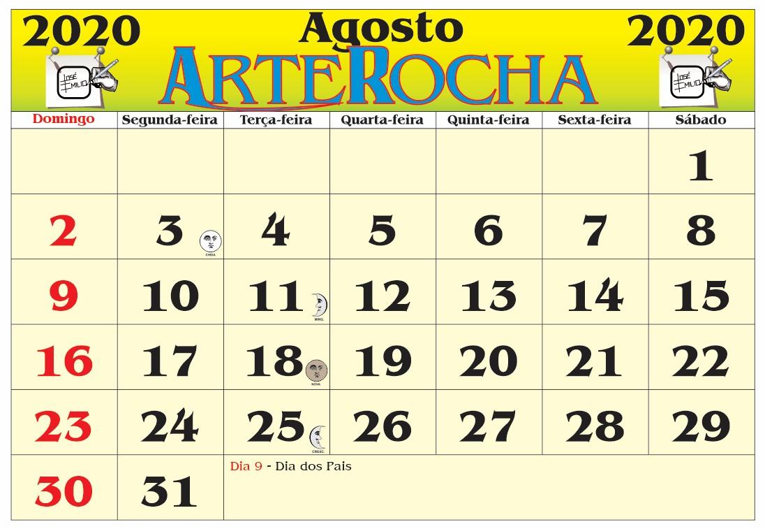Agosto 2020 Calendario.Arterocha Calendario Mes De Agosto 2020