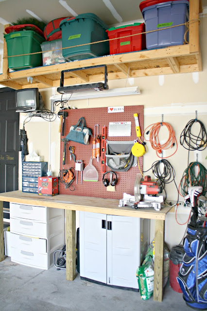 DIY work bench area in garage