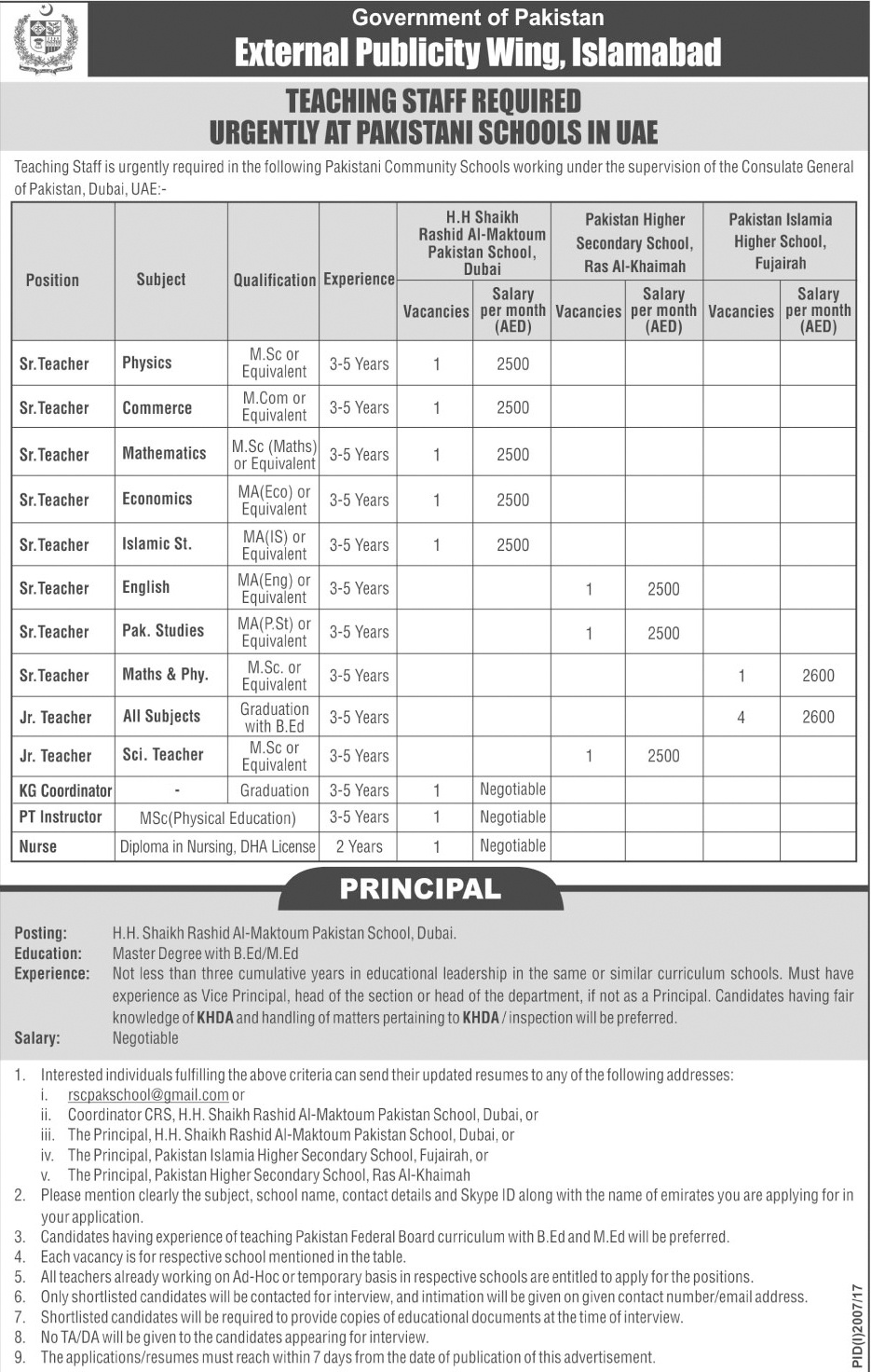 Teaching Job In Pakistani Schools In UAE  Oct 2017