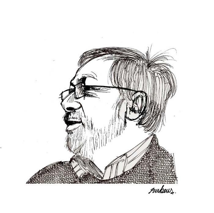 Jorge Consuegra, caricatura por: Rubens