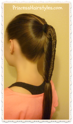Split fishtail braid, side view