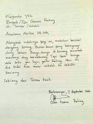 Surat Izin Tidak Masuk Sekolah dari Orang Tua Siswa Ini