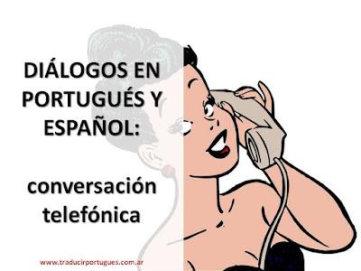 diálogos, portugués, español, conversación, telefónica