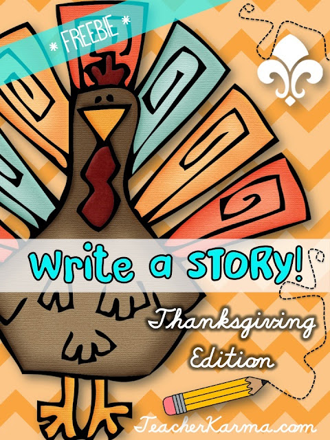 FREE Thanksgiving writing papers to inspire your students to write.  TeacherKarma.com