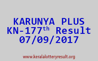 KARUNYA PLUS Lottery KN 177 Results 7-9-2017