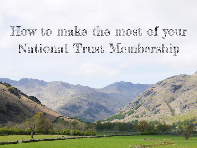 a valley between two hills in the lake district, with 'how to make the most of your National Trust membership' written over the photo in black text