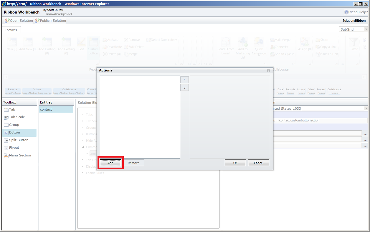 MS CRM 2011: How to refresh Associated or SubGrid from Ribbon button