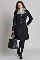 Palton Moze negru cu gri cu rever elegant