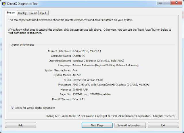 Cara cek spesifikasi laptop atau komputer (tampilan Directx Diagnostic Tool)