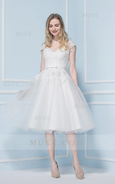 Vintage Style Cap Sleeves Lace A-Line/Princess Tulle Wedding Dress