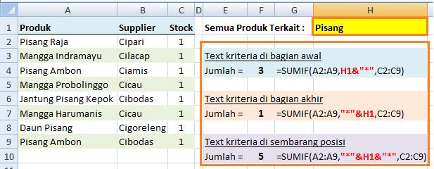 Fungsi SUMIF Referensi Kriteria