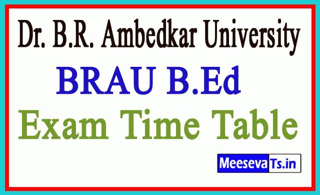 BRAU Srikakulam BEd 1st Sem Exam Time Table