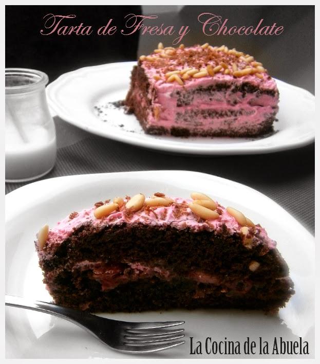 Tarta de Chocolate y Fresas.