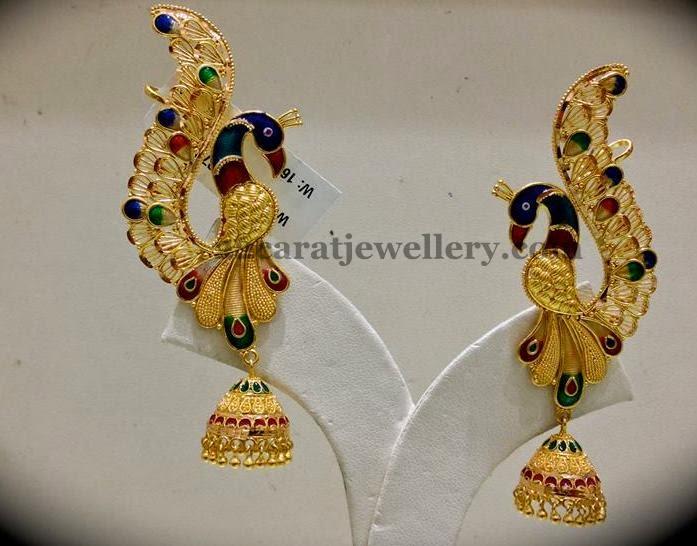 Enamel Paint Peacock Jhumkas Jewellery Designs
