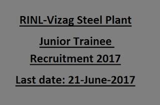 RINL Vizag Steel Plant Junior Trainee, Field Assistant Trainee Govt Jobs Online Recruitment Exam 2017