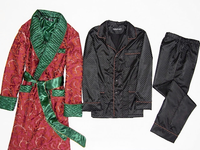 Men's paisley silk dressing gown quilted robe and pajamas set loungewear traditional