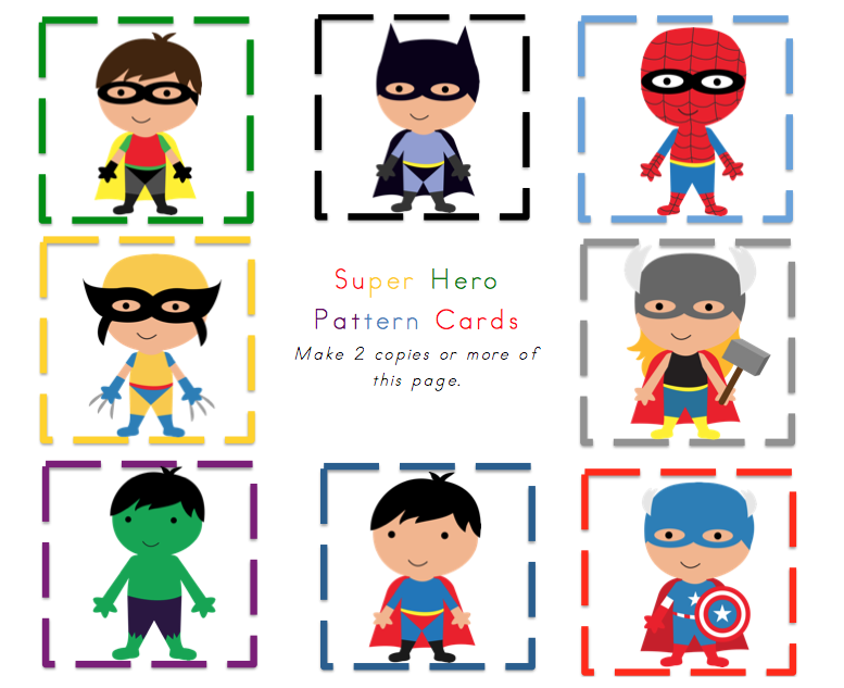 superhero theme for preschoolers superheroes pattern cards preschool printables 896