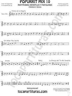 Mix 10 Partitura de Saxofón Alto y Sax Barítono Himno de la Alegría. Oh When the Saints, Sirena, Reloj y La Granja del Tio Gilito Popurrí Mix 10 Sheet Music for Alto and Baritone Saxophone