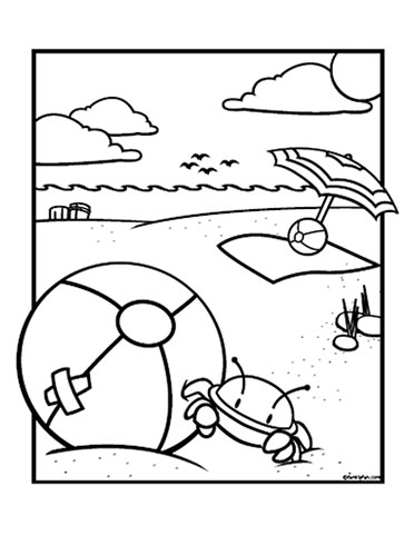 Beach ball coloring pages disney coloring pages for Beach coloring book pages