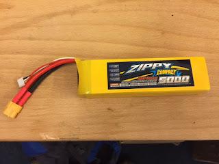 Zippy Compact 5000mah 3 S Lipo Ideal fro an E-Flight Opterra