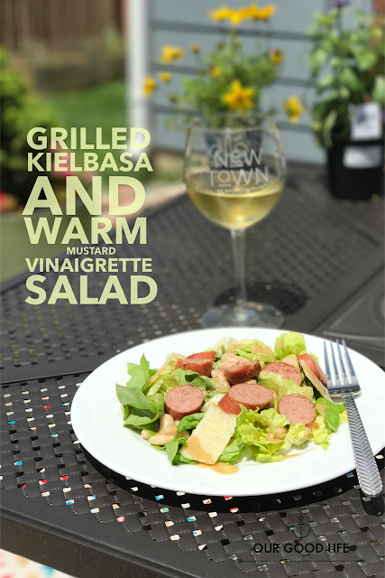 Grilled Kielbasa and Warm Mustard Vinaigrette Salad
