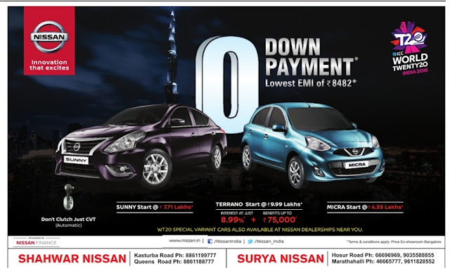 Zero (0) down payment offer on Nissan cars with lowest EMI | February 2016 discount offers
