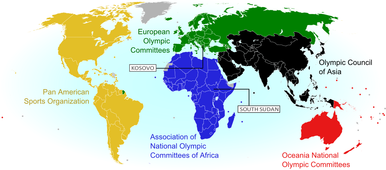 World map showing the five continental associations of National Olympic Committees, including all nations eligible for the Rio 2016 Olympic games. Labels newly recognized nations Kosovo and South Sudan.