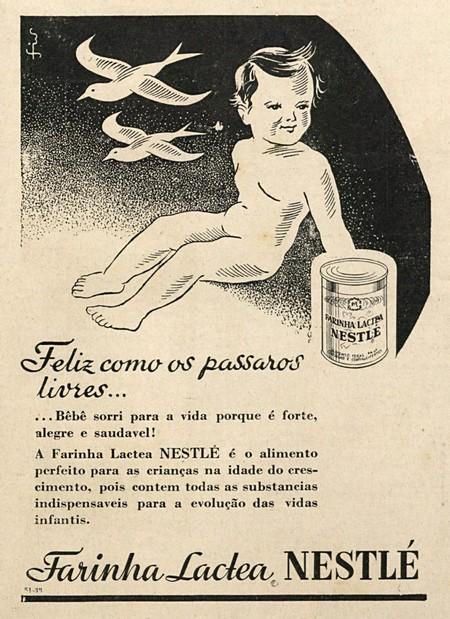 Propaganda antiga da Farinha Láctea Nestlé veiculada nos anos 30
