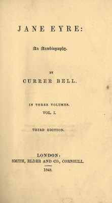 Portada de la tercera edición de Jane Eyre, donde aún figura el seudónimo de Currer Bell como autor de la obra