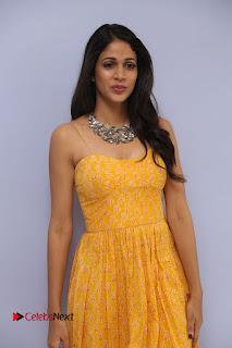 Lavanya Tripathi Pictures in Yellow Dress at Srirastu Subhamastu Song Launch